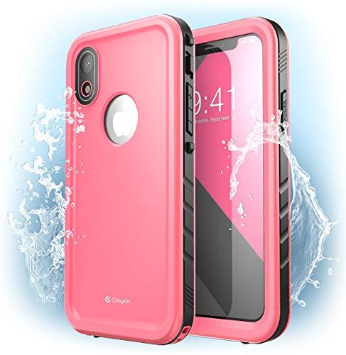 Capa Capinha à prova d'água para iPhone XR, Clayco Omni Underwater Case capa à prova de choque, à prova de neve, à prova de sujeira com protetor de tela integrado para Apple iPhone XR 6,1 polegadas 2018 (Rosa)