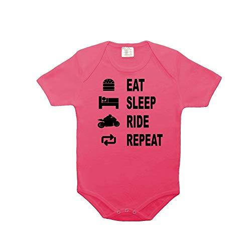 Mygoodprice Body bébé 100% Coton Eat Sleep Moto Rose 6-12 Mois