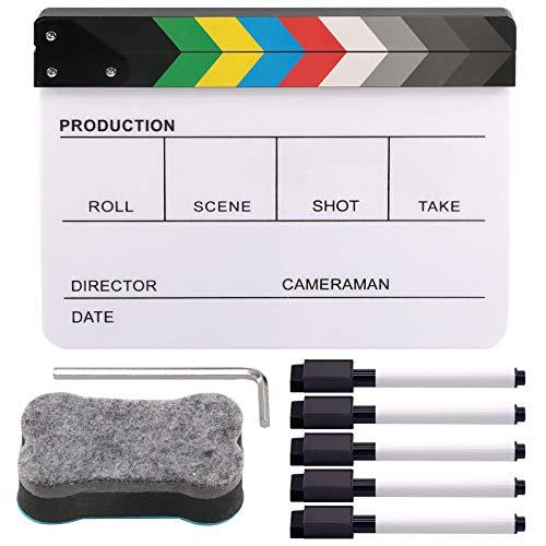 Rustark Movie Film Clap Board, Acrylic 10'x12' Acrylic Dry Erase Director Clapboard, Professional Photography Studio Video TV Cut Action Scene Clapper Board with 5 Pcs Erasable Pen