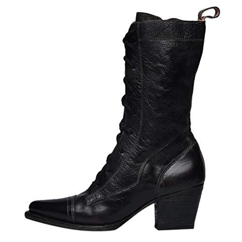 MINIKIMI Reitstiefel Damen Leder GüNstig Halbhoch Stiefel Vintage Mit Blockabsatz Cowboystiefel ReißVerschluss SchnüRstiefeletten Roman Spitz Lange Stiefel