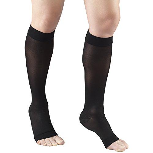 Truform Sheer Compression Stockings, 15-20 mmHg, Women's Knee High Length, Open Toe, 20 Denier, Black, Large