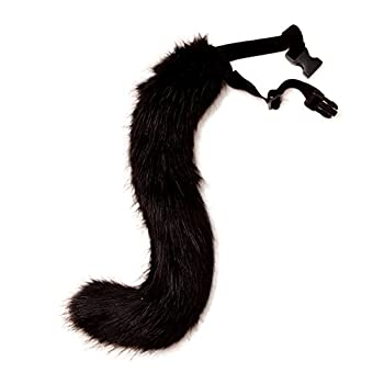 JUNBOON Faux Fur Fox Tail for Unisex Adult Children Cosplay Costume Halloween Party  Black