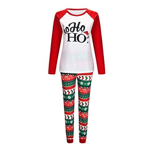 BOLANQ Weihnachten Frauen Mutter gedruckt Brief Top + Print Hosen Weihnachten Familie Kleidung Pyjamas(Medium,Weiß)