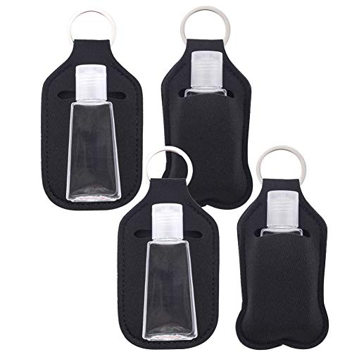 Paquete de 4 botellas vacías de tamaño de viaje y llavero, 30 ml (1 onza) con tapa abatible botellas reutilizables con portavasos, botellas recargables para jabón, loción y líquidos
