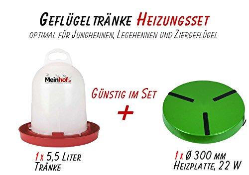 Meinhof Geflügeltränke 5,5 Liter + Heizplatte 300mm SET