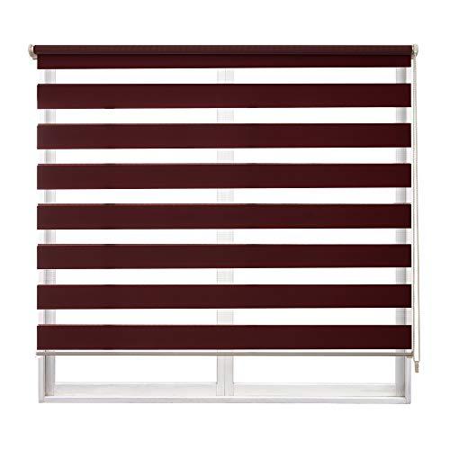 Frenessa Estor Enrollable Doble Tejido Noche y Día Persiana Enrollable para Ventanas Puertas Dormitorios Oficinas, Rojo Burdeos, 140 x 180 cm