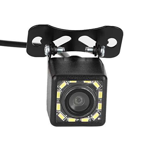 Qiilu Cámara de Marcha atrás , cámara de visión Trasera para Coche HD 12 LED Monitor de estacionamiento de Marcha atrás con visión Nocturna CCD IP 67 a Prueba de Agua