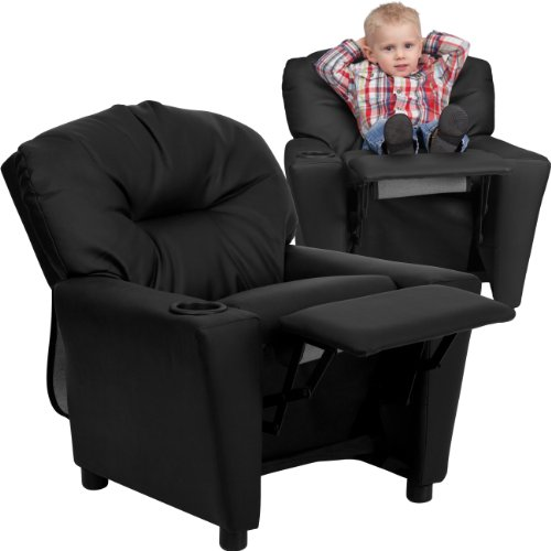 Flash Furniture Contemporary Black LeatherSoft Kids Recliner with Cup Holder