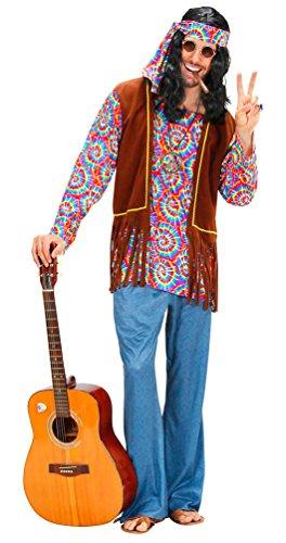 Karneval-Klamotten Hippie Kostüm Herren Flower-Power Peace Kostüm Herren 60er 70er Jahre Karneval Herren-Kostüm inkl. Hemd Weste Schlaghose Stirnband Peacekette