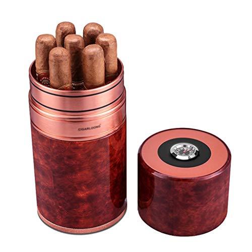 Rangements Cigar Humidors 7 Sticks Hydratant Pour Cigares Humidificateur Portable Ensembles De Cigares De Voyage Hydratant Scellé Avec Hygromètre Cadeau Parfait ( Color : Red , Size : 17.5*2.8*9.4cm )
