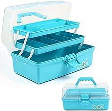 12in Three-Layer Multipurpose Storage Box Organizer Folding Tool Box / Art & Crafts Case / Sewing Supplies Organizer / Medicine Box / Family First Aid Box with 2 Trays (Blue)