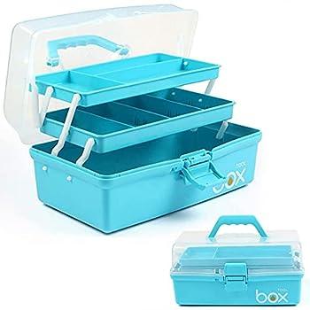 12in Three-Layer Multipurpose Storage Box Organizer Folding Tool Box / Art & Crafts Case / Sewing Supplies Organizer / Medicine Box / Family First Aid Box with 2 Trays  Blue