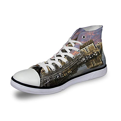 High Top Classic Casual Canvas Sneakers Lace ups Casual Walking Shoes,Sunset Over Nantucket Massachusetts Dramatic Sky Clouds Pond Houses - Womens 7
