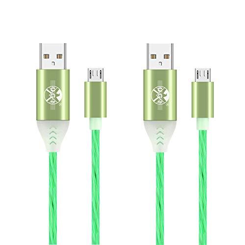 Cable Micro USB 2 Piezas cables de luz LED con luz visible Cable micro USB de 1M 2M 3A Carga rápida y transferencia de datos Compatible con Samsung Note 5/S7 Edge/S6/S5, LG G4 G3 G2 y más (Verde)