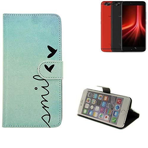 K-S-Trade® Schutzhülle Für UMIDIGI Z1 Pro Hülle Wallet Case Flip Cover Tasche Bookstyle Etui Handyhülle ''Smile'' Türkis Standfunktion Kameraschutz (1Stk)