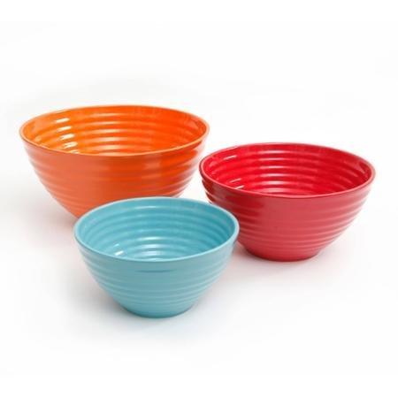 The Pioneer Woman 3 computer Ceramic Mixing Bowl Set (Flea Market (Orange/Red/Teal))