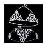 HLH Lencería de Lujo Bikini Top Sujetador y Bragas para Las Mujeres Thong Bralette Underwear Tamaño Ajustable (Main Stone Color : Plata, Metal Color : Set)
