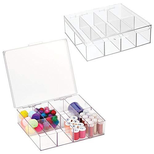 mDesign Juego de 2 cajas con compartimentos para costura y manualidades – Costurero cuadrado de plástico con tapa y 8 divisiones – Organizador de hilos de coser, agujas y abalorios – transparente