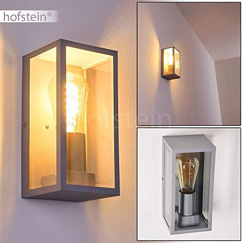 Buitenwandlamp Hakka's, moderne wandlamp van metaal/glas in zilver, hoekige wandlamp met E27 stopcontacten, max. 25 Watt, buitenlamp met lichteffect voor de ingang