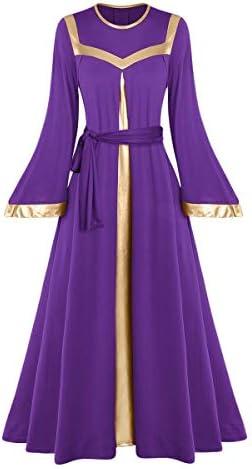Women Metallic Gold Glory Praise Dance Bell Long Robe Dress Adult Liturgical Church Worship product image