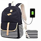 Girls Canvas Backpack Lightweight School Bookbag Set College Travel Casual Daypacks for Teen