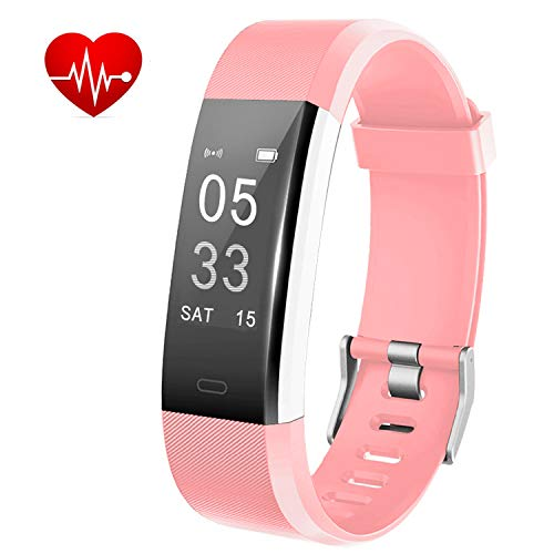 Lintelek Fitness Tracker - Activity Tracker with Heart Rate Monitor, Waterproof Smart Fitness Watch with Sleep Monitor, Step Counter, Calorie Counter, Pedometer Watch for Women Men and Gifts (Pink)