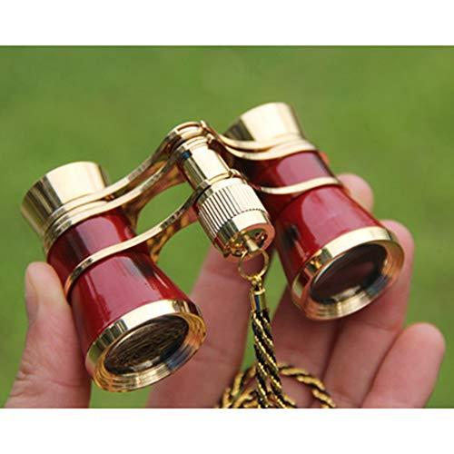 Gby Einstellbare Fernglas, 3X25 Konzertfernglas Mit ASA, Kette Für Frauen Opera Theater Pferderennen Teleskop Geschenke,Rot