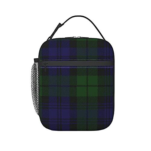 Bolsa de almuerzo aislada para mujeres/hombres negro reloj Tartan Plaid reutilizable caja de almuerzo bolsa bolsa bolsa bolsa de mano para oficina, trabajo, escuela, picnic, viajes