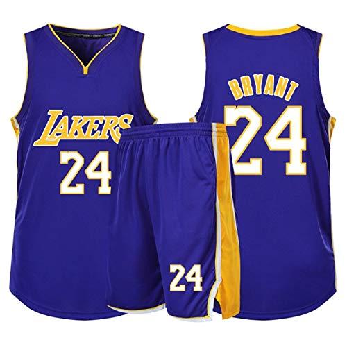 RL Lakers Nummer 24 Retro Basketballkleidung, Sportweste + Kurze Hose Zweiteiliges Set, Erwachsene Kind Sportbekleidung Freizeitkleidung,Lila,S