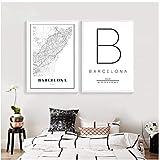 Mapa de Barcelona Imprimir España España Ciudad Calle Mapa de carreteras Póster Pintura de lienzo moderna Imagen en blanco y negro Oficina Arte de la pared Decoración-40x60x2Pcscm Sin marco