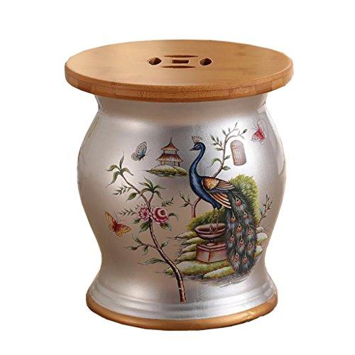 HHCS Style américain coiffeuse bambou et bois tabouret en céramique tabouret chaussures tabouret en céramique brodé jetée fleur et oiseau porcelaine tabouret rangement en bambou couverture (27 * 31cm)