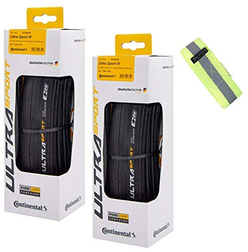 Bike A Mile Continental Ultra Sport III Road Bike Tires Folding Bike Tire Set of Bicycle Tires - with Reflective Armband (2 Black Tires III+ Reflector, 700 x 25mm)
