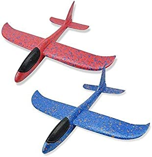 """Glider Plane, 2 Pack 17.5"""" Large Throwing Foam Airplane Toys Manual Circling Functions Aeroplane Gliders Best Outdoor Fun ..."""