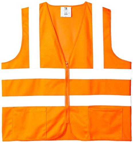 TR Industrial Orange Safety Vest, Large, 2 Pockets Knitted, 5 Pack