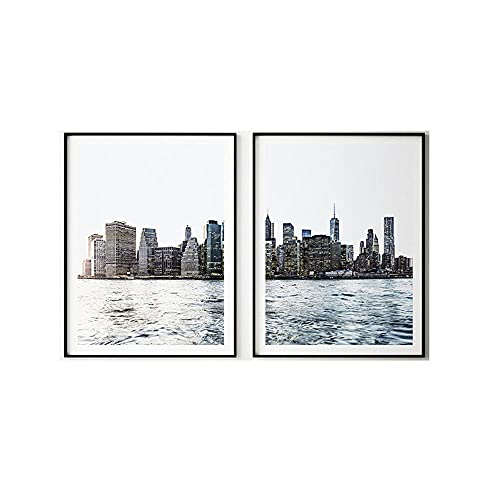 New York City Print Skyline Urban Wall Art Modern Minimalist Canvas Painting Landscape Poster Living Room Home Decor Wall Pictures 40x50cmx2 No Frame