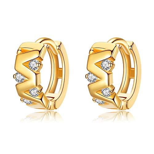 VIKI LYNN Creolen Damen Ohrringe 925 Sterling Silber in Gold Creolen mit Zirkonia Durchmesser 10mm Klein Schlafen Kreolen
