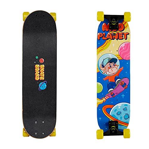 LIUFS Skateboard para niños, Tablero de Madera de 7 Capas para Principiantes, niños, tableros Profesionales, niñas, Scooter de Cuatro Ruedas inclinadas de 3 a 6 años