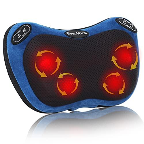 Massagekissen mit wärmefunktion, BeauWink 3-Geschwindigkeit Shiatsu massagegerät, geeignet für die Ganzkörpermassage zu Hause, im Auto, im Büro