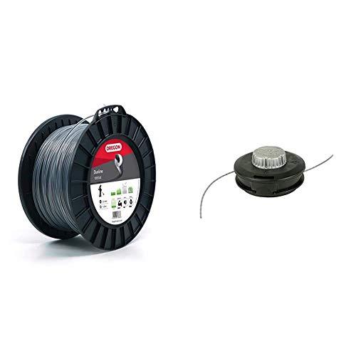 Oregon - Hilo de desbrozadora redondo Duoline, 3,0mm, carrete de 120m + 539137 - Grifo y seguir cabezal de corte universal para 33 a 50 cc