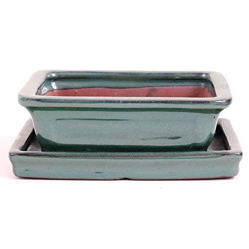 Bonsai - Schale mit Untersetzer eckig 15,5 x 12 x 5 cm, grün 23112