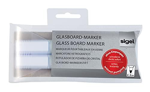 Sigel GL715 Glasboard-/ Kreidemarker schreibt sofort, abwischbar weiß, Rundspitze 2 - 3 mm, 2 Stück - weitere Farben
