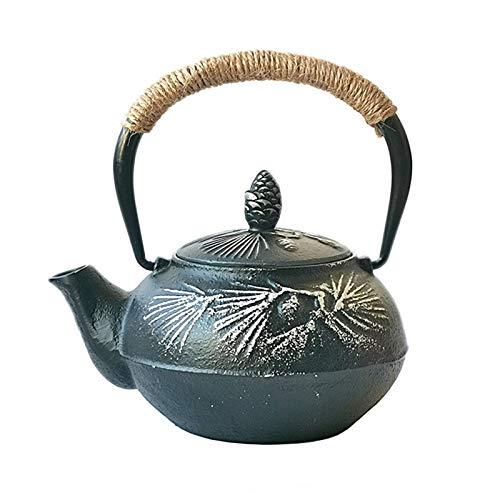 JYSXAD Tetera de hierro fundido estilo japonés con infusor de acero inoxidable y patrón de rama de pino para casas de té del hogar (500 ml)