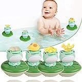 Juguete de baño Xigu con mecanismo para niños, bañera eléctrica, juguete para el agua, rana, 1 rana + 5 juguetes de baño