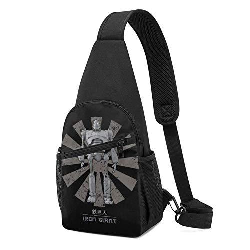 Hdadwy Iron Giant Retro Japanese Sling Mochila Sling Bag Black Crossbody Daypack...