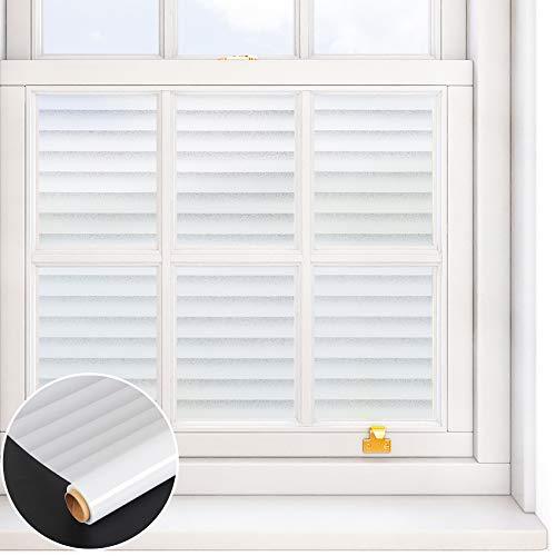 VEELIKE Fensterfolie Blickdicht Sichtschutzfolie Fenster Milchglasfolie Glasfolie Glasdekorfolie Anti UV Statisch Haftend Streifen für Bad Schlafzimmer Büro 40cm x 300cm