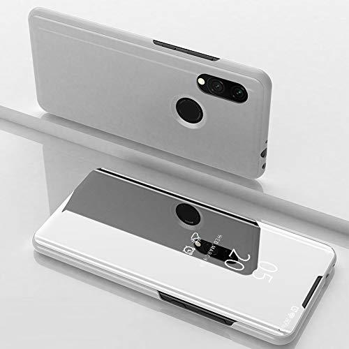 Custodia® Espejo Chapado Transparente View Stand Función Flip Funda para Xiaomi Redmi 7 (Plata)
