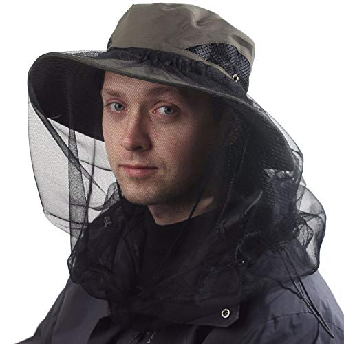 Beekeepers Hat w/Removable Mosquito Head Net for Outdoors UV Protective OD Army Green