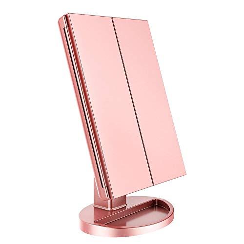 WDEC Schminkspiegel, 3 Seiten Kosmetikspiegel Tischspiegel mit 21 LED Faltbar Dimmbar, 90 Grad Einstellbar Drehung, Vergrößung Modi 1X 2X 3X, USB Aufladbar, für Schminken Rasieren (Roségold)
