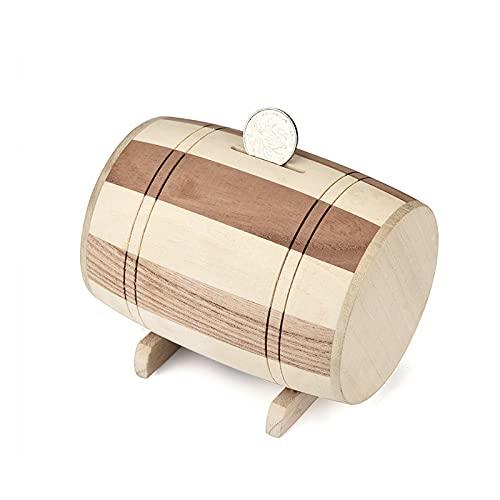 RuiXi Hucha de madera para vino 2021, hucha de ahorro, talla hecha a mano, barril de vino, madera, caja de dinero para niños (color: B)