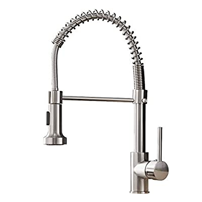 Kitchen Faucets Low Lead Commercial Solid Brass Single Handle Single Lever Pull Down Sprayer Spring Kitchen Sink Faucet, Brushed Nickel OWOFAN
